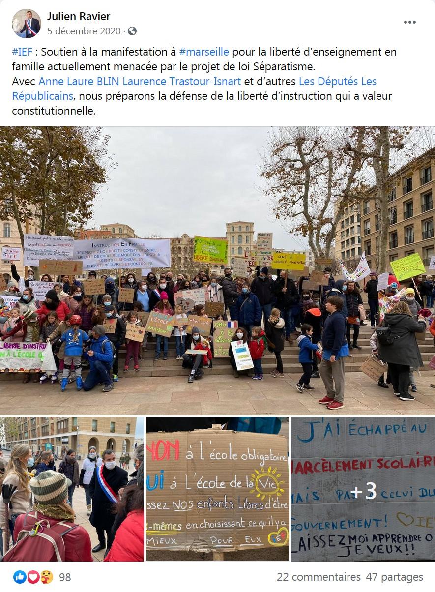 Publication de Julien Ravier de notre manifestation sur sa page Facebook